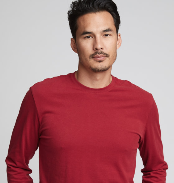 Sueded Long Sleeve Crew - 6411