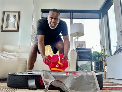 Bruny Surin prepares for travel